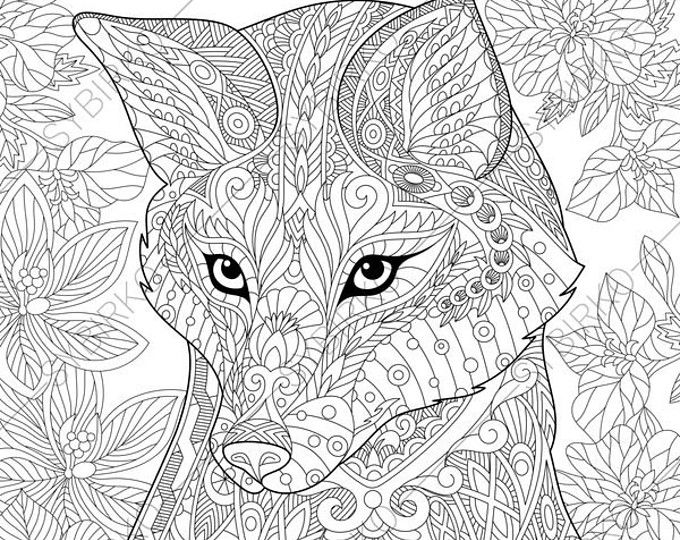 Adult Coloring Pages. Fox. Zentangle Doodle Coloring Book Page for ...
