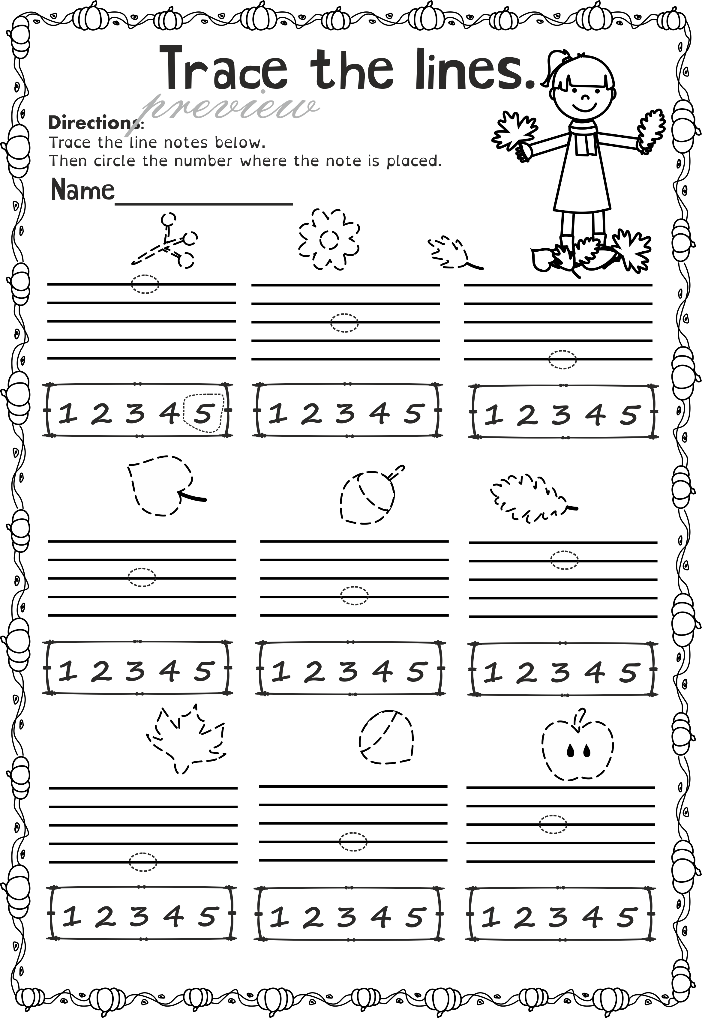 worksheet Note Name Worksheets fall music worksheets pack line space high low low