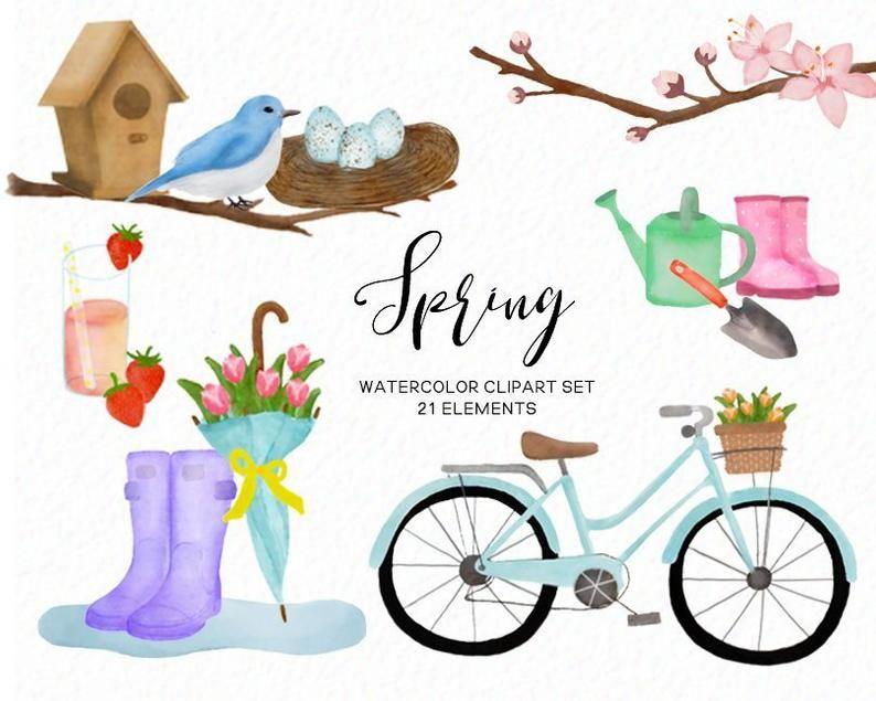 Spring clip art - Watercolor rainboots springtime ...