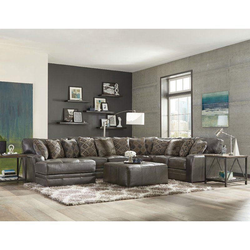 Best Steel Gray 5 Piece Sectional Sofa With Laf Chaise Denali 640 x 480