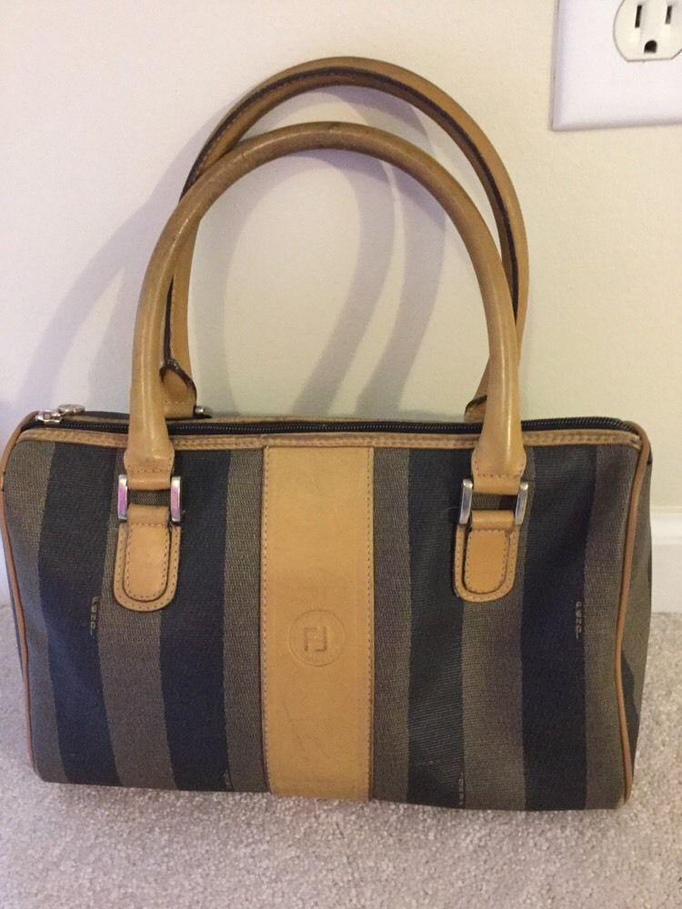 a9d3e5676ad Vintage Fendi Tobacco coated canvas striped Pequin Handbag satchel  authentic  fendi  Satchel