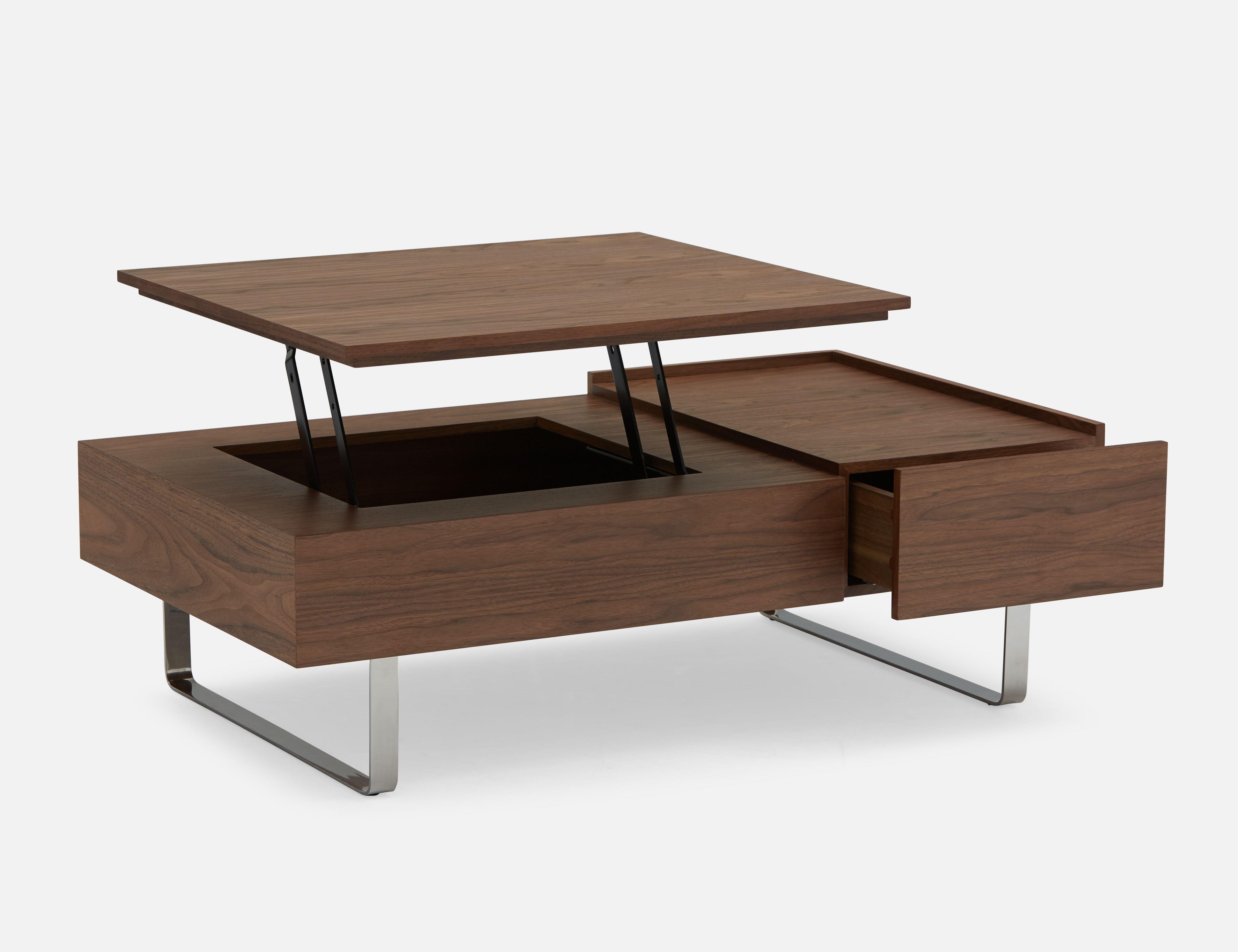 EVO Walnut walnut veneer lift-top storage coffee table ...