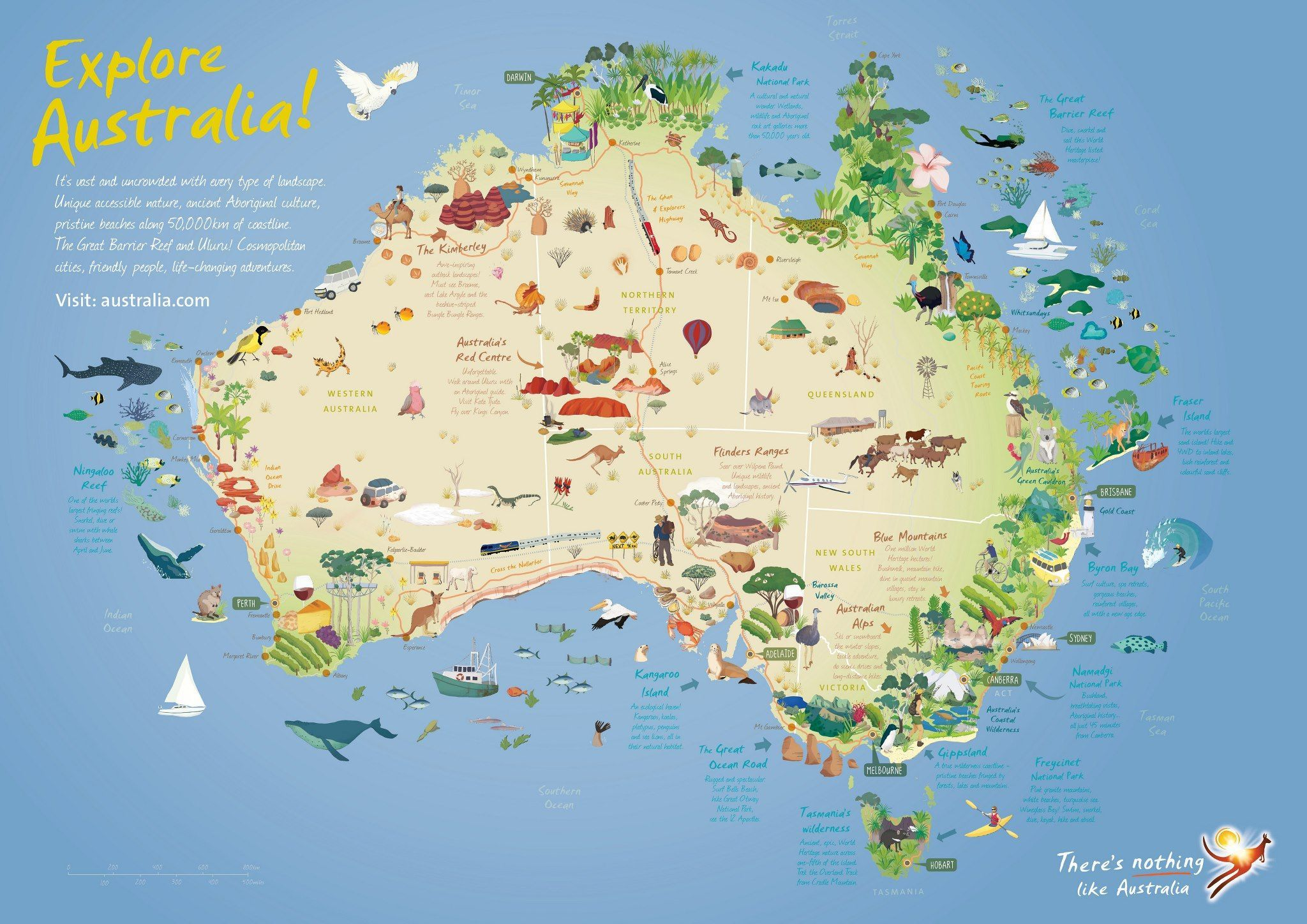 Australia Map Key.Australia Travel Map Showing Key Features Attractions On The