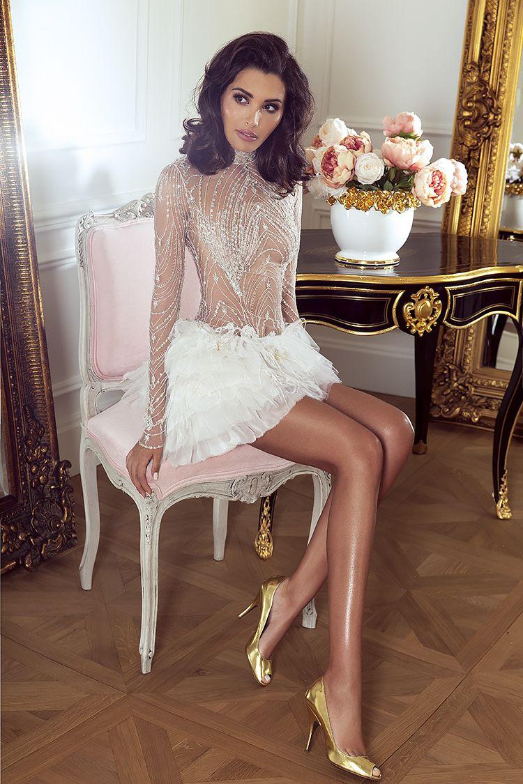 Sylwia Romaniuk Fashion Designer  Luxury white dress with Swarovski   crystals, model Sara Faraj