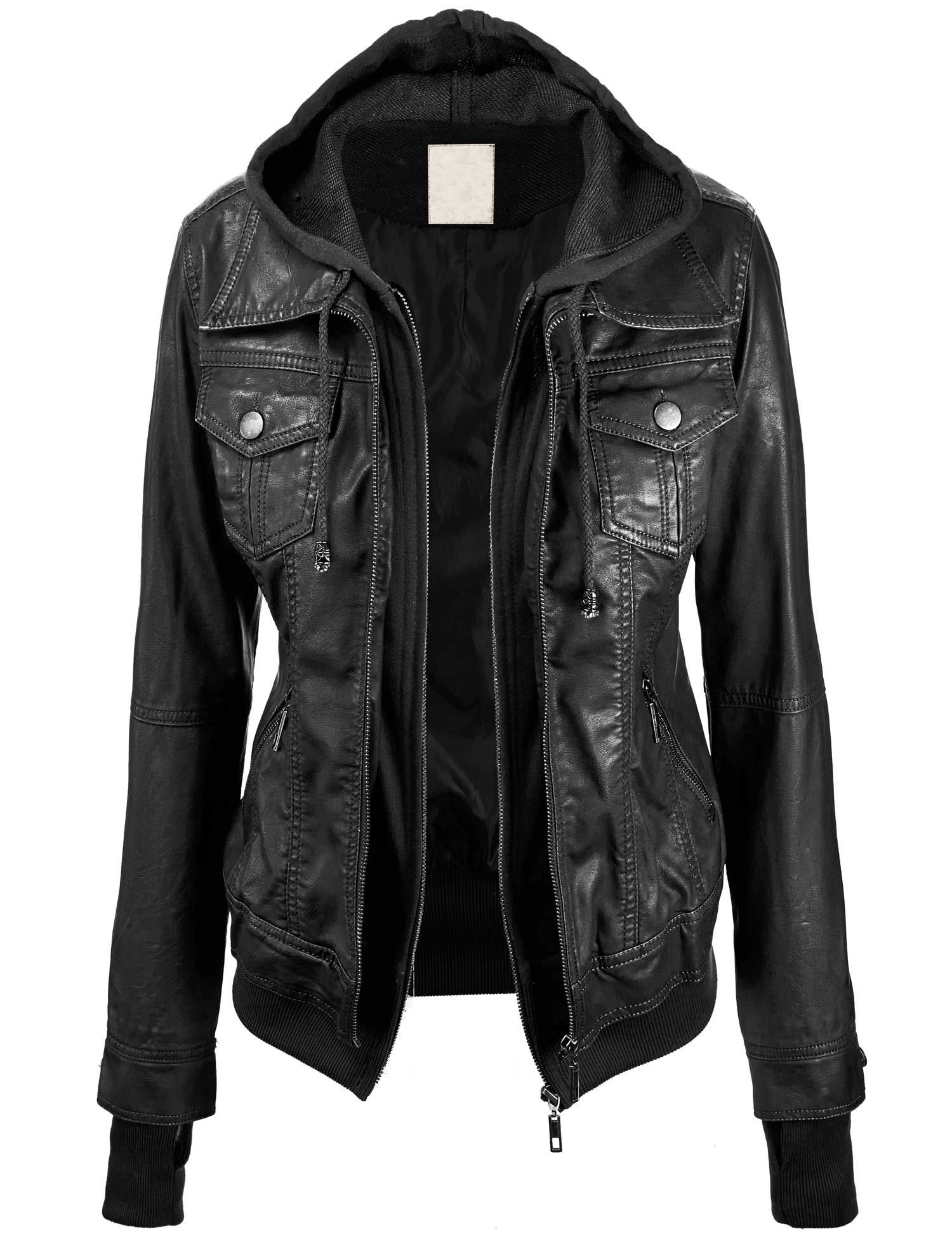 a35ef4ccf Lock and Love Women's 2-For-One Hooded Faux leather Jacket XS BLACK ...