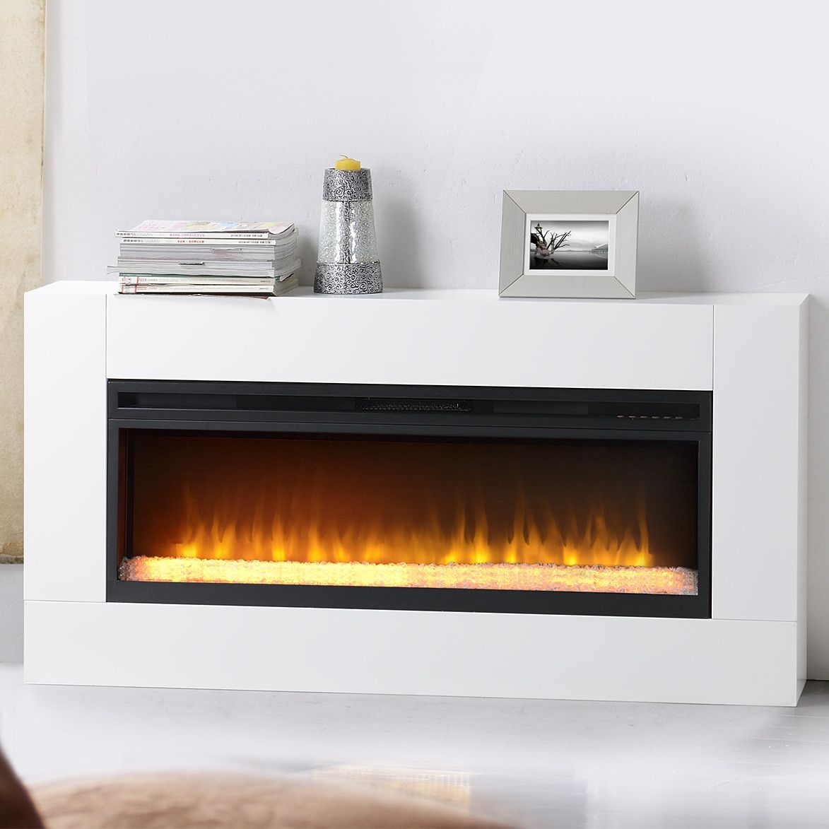 Features 42 Widescreen Electric Insert With Crushed Glass Ember
