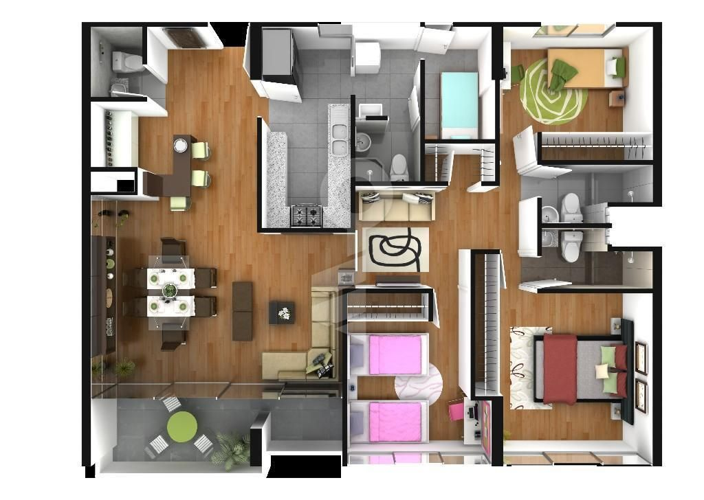 Excelente departamento de 3 dormitorios 2 ba os completos for Cocinas minimalistas
