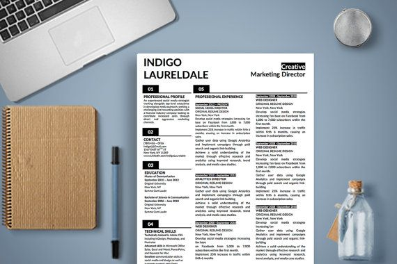 Indigo Lauderdale Resume Template 2-Page Microsoft Word Version with