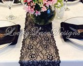 WEDDING DECOR /Black  LaceTable Runner /5ft-10ft x 7.5in Wide, Lace Overlay, Party Decor/Black Weddings// Home Decor