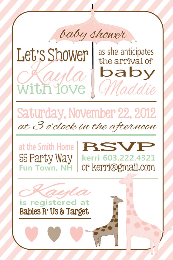 Shower invite | Baby!! | Pinterest | Giraffe baby showers, Pink ...