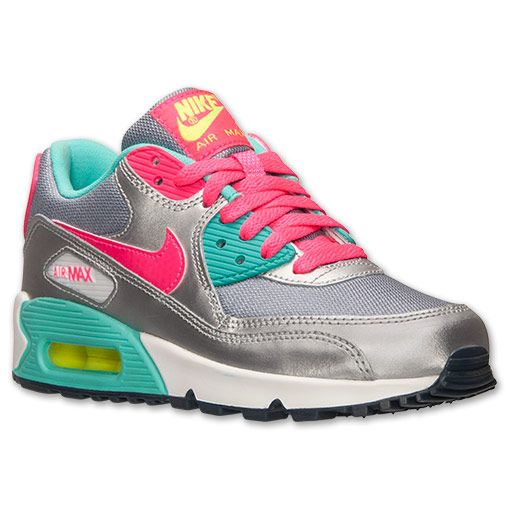 Girls' Grade School Nike Air Max 90 Running Shoes | Finish Line | Magnet  Grey