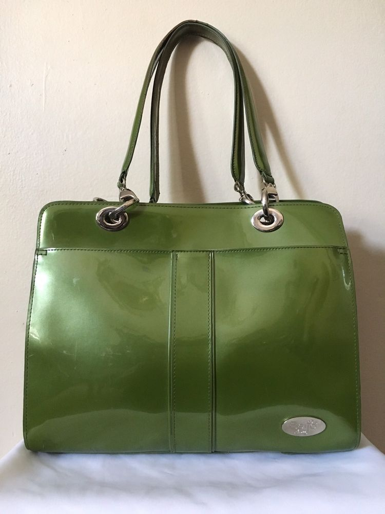 Beijo Bag Womens Green Patent Leather Briefcase Career Handbag Purse