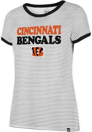 47 Cincinnati Bengals Womens Striped Ringer White T Shirt | NFL