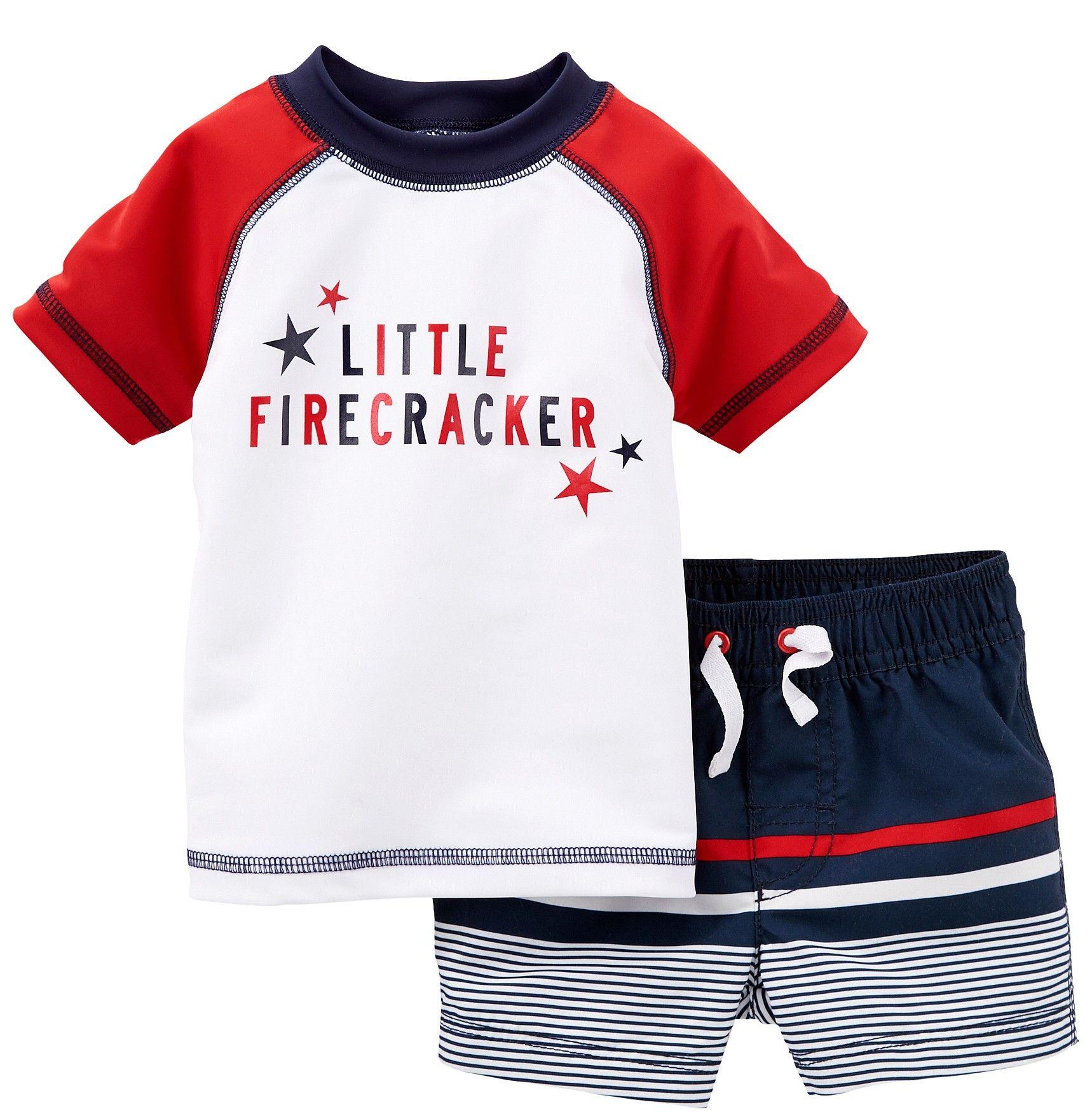 Carter s Little Firecracker Rash Guard Set beallsflorida