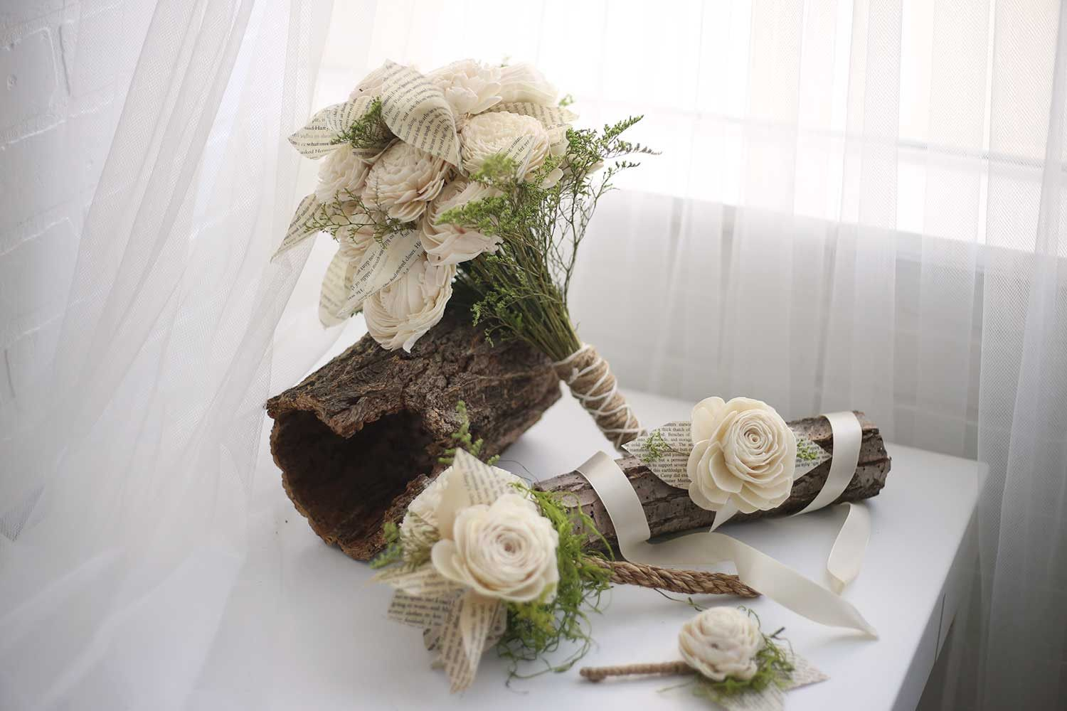 Boho Lily Bridal Package  Wood flowers Eco flower and Bridesmaid