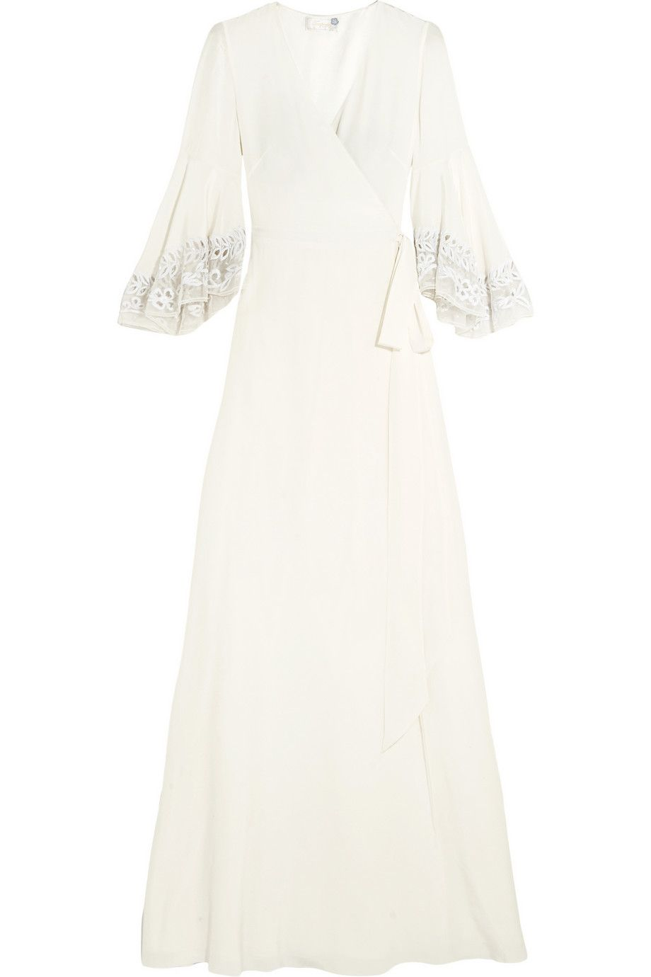 Temperley london rosemary embroidered tulletrimmed silk crepe de