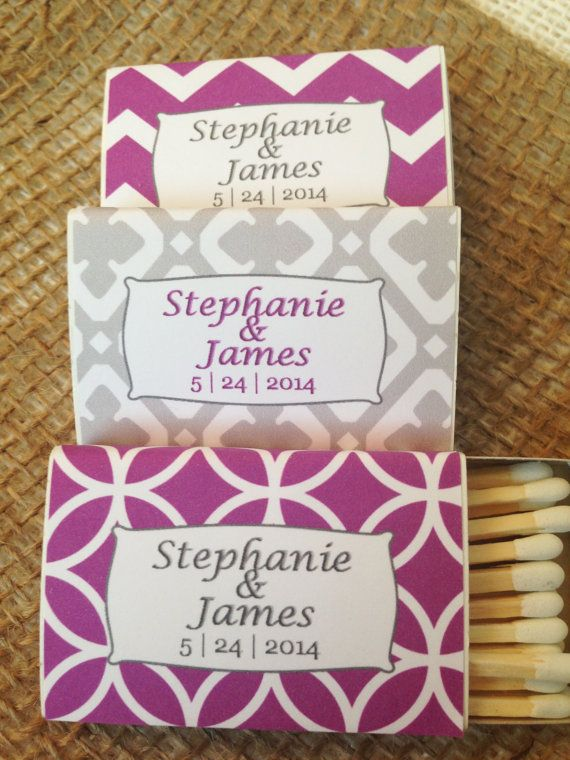 Set of 50 Personalized Matchboxes Purple & by PerfectlyMatched, $62.00