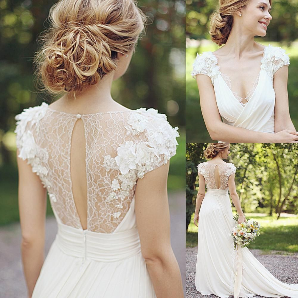 Simple Lace Wedding Dress Cheap Informal Bride Dress Half: Discount Greek Chiffon Spring Beach Wedding Dresses 2015