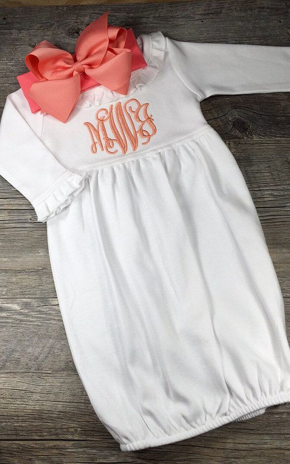 Baby Girl Coming Home Outfit, Monogrammed Baby Gown, Personalized ...