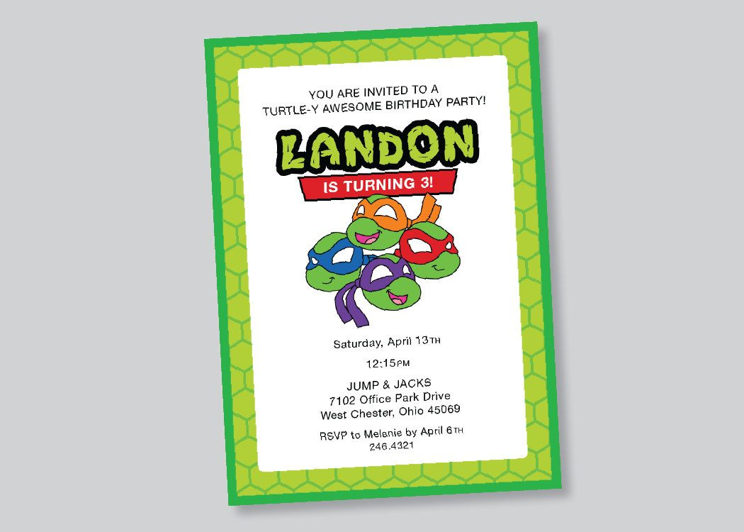 teenage mutant ninja turtles birthday invitation . custom design ...