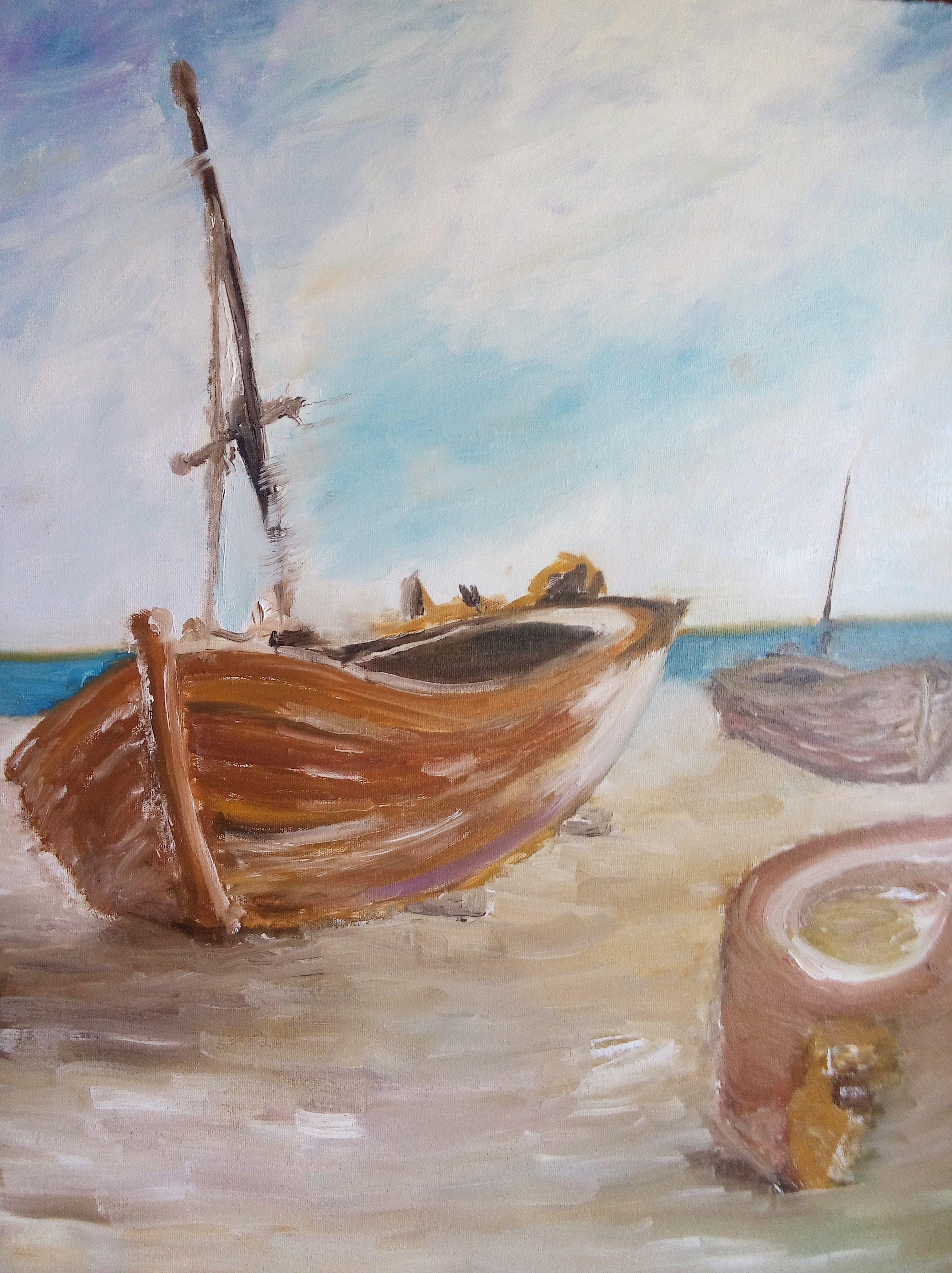 Pintura em tela 40x50. Releitura de Barcos de Diego Vocci