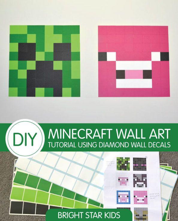 Diy Minecraft Wall Art Tutorial Using Wall Decals Minecraft Bedroom Minecraft Wall Minecraft Room Decor