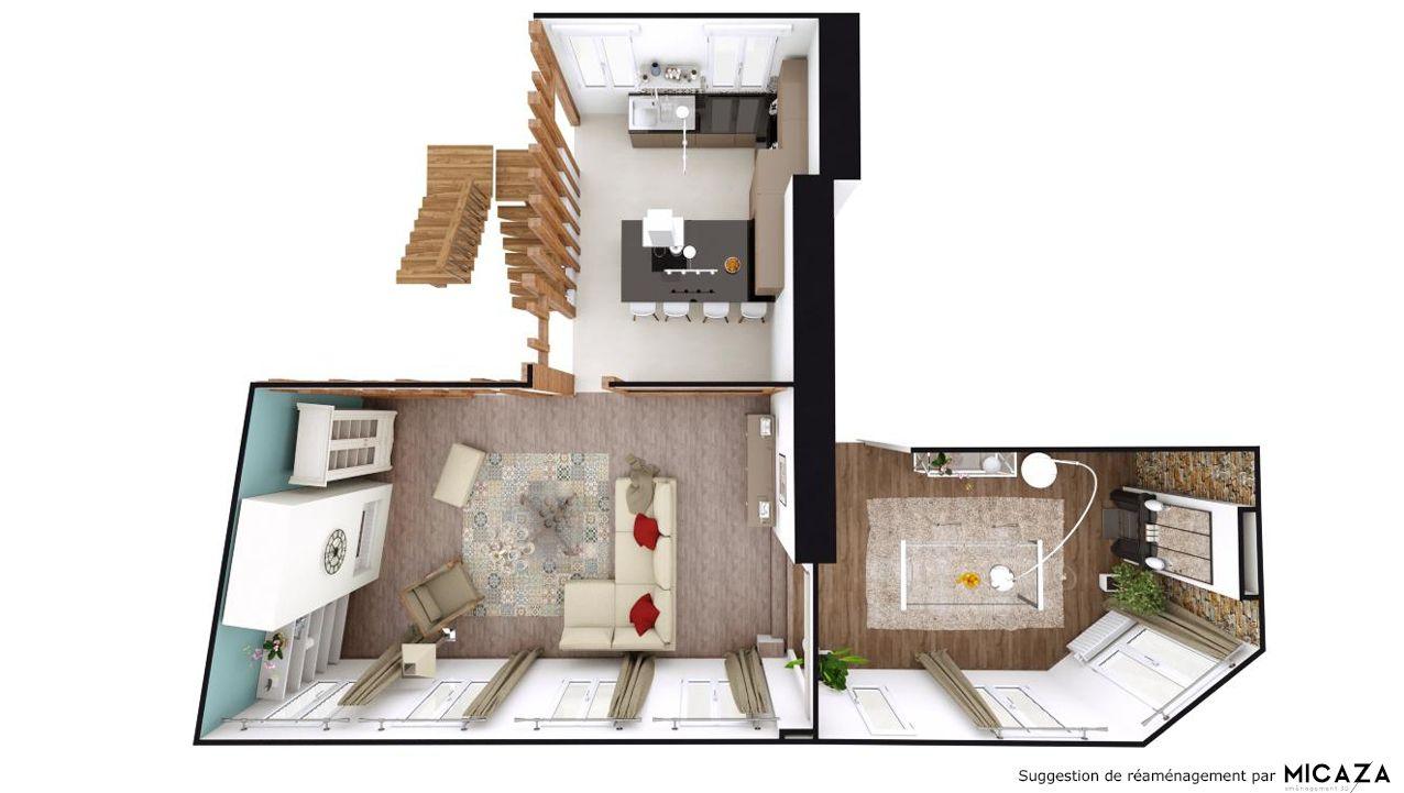 Plan Amenagement Salon Sejour aménagement 3d cuisine / salle à manger / salon   cuisine