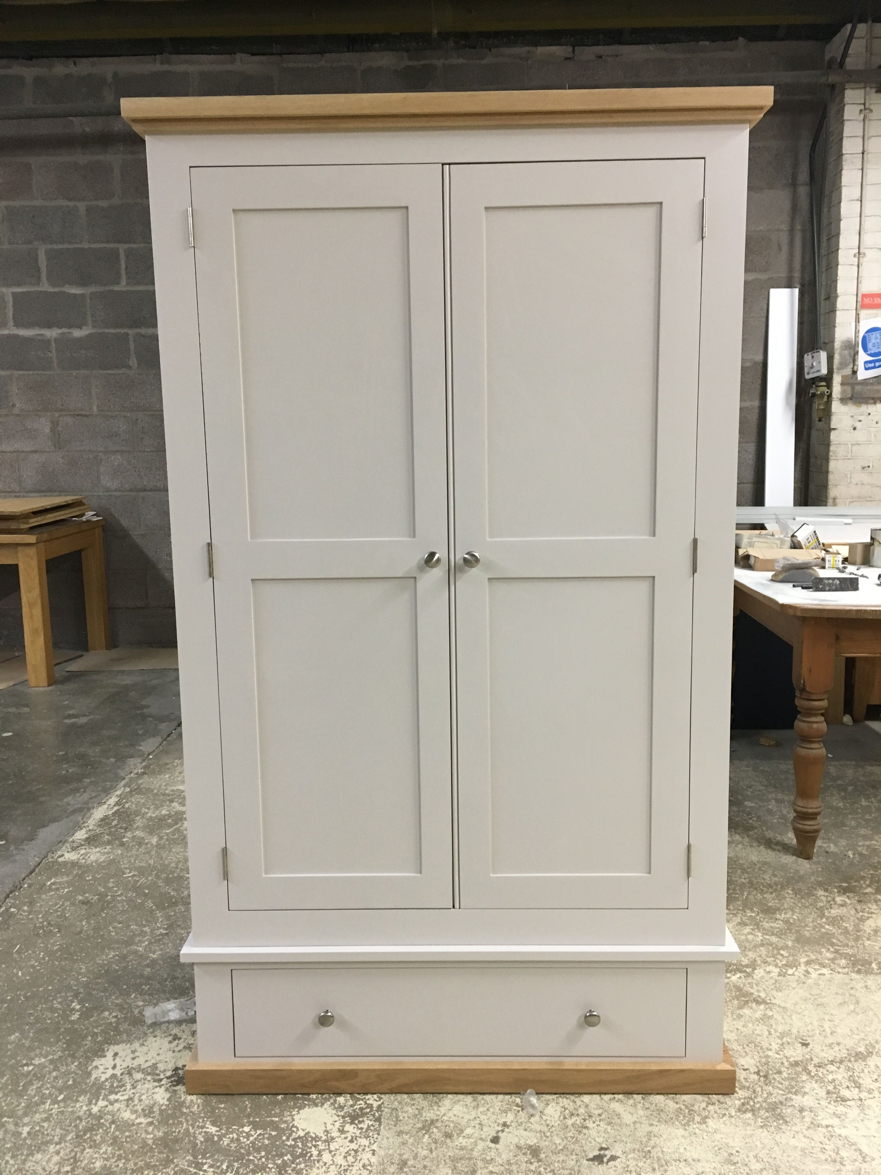 Bespoke Wardrobe Painted In Farrow And Ball Skimming Stone Paint With An Oak Cornice Pine Furniture Painted Wardrobe Beach Furniture