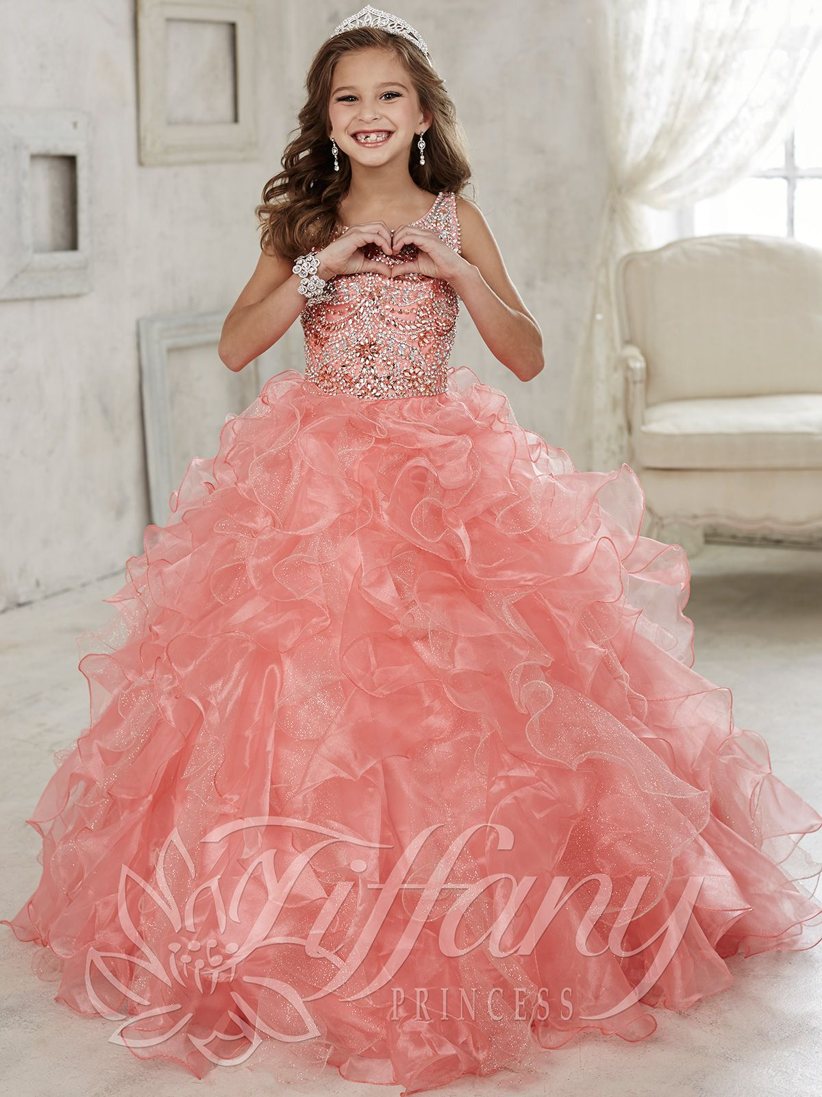 Tiffany Princess 13444 Scoop Neckline Girls Pageant Gown | uchami ...
