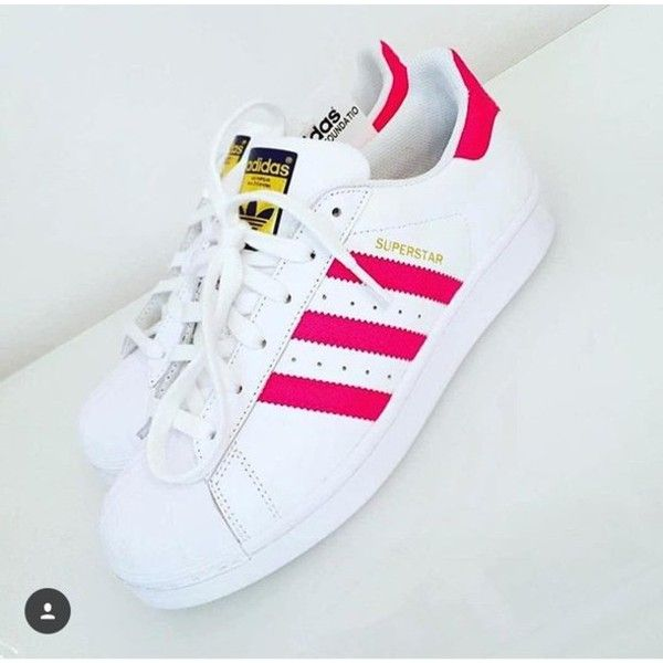 Shoes: adidas superstar hot pink clothes tracksuit stripes pink ❤ liked on  Polyvore featuring shoes
