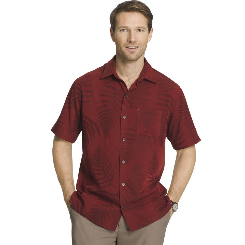 9896016c Van Heusen Mens Big And Tall Jacquard Short Sleeve Shirt | RLDM