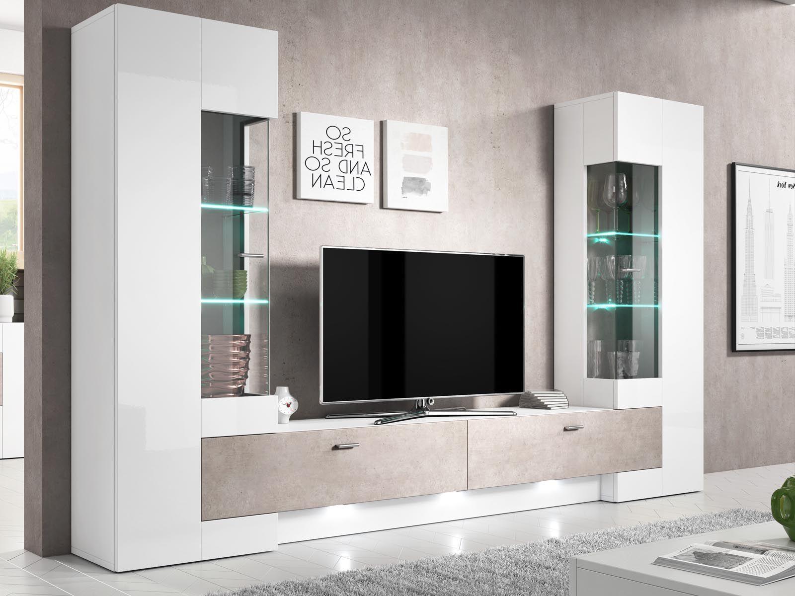 mur tv hifi foster 4 portes blanc laque
