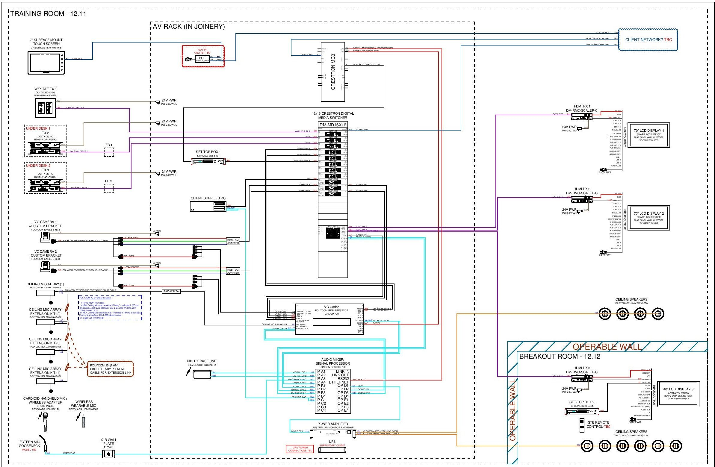 AV Wiring schematic - Training room system with Operable Walls Cad Services Design Services
