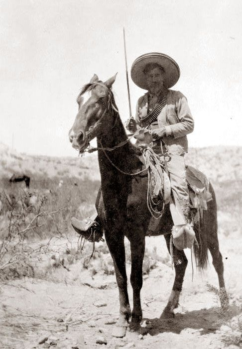 A picture taken in 1911, shows a Mexican Insurrectionist on horseback.