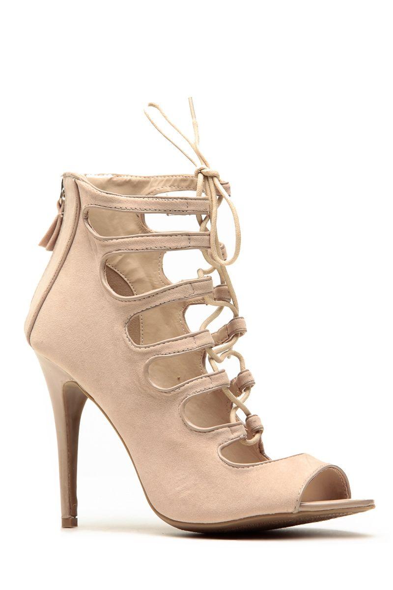 Anne Michelle Nude Criss Cross Lace Up Peep Toe Heels @ Cicihot ...