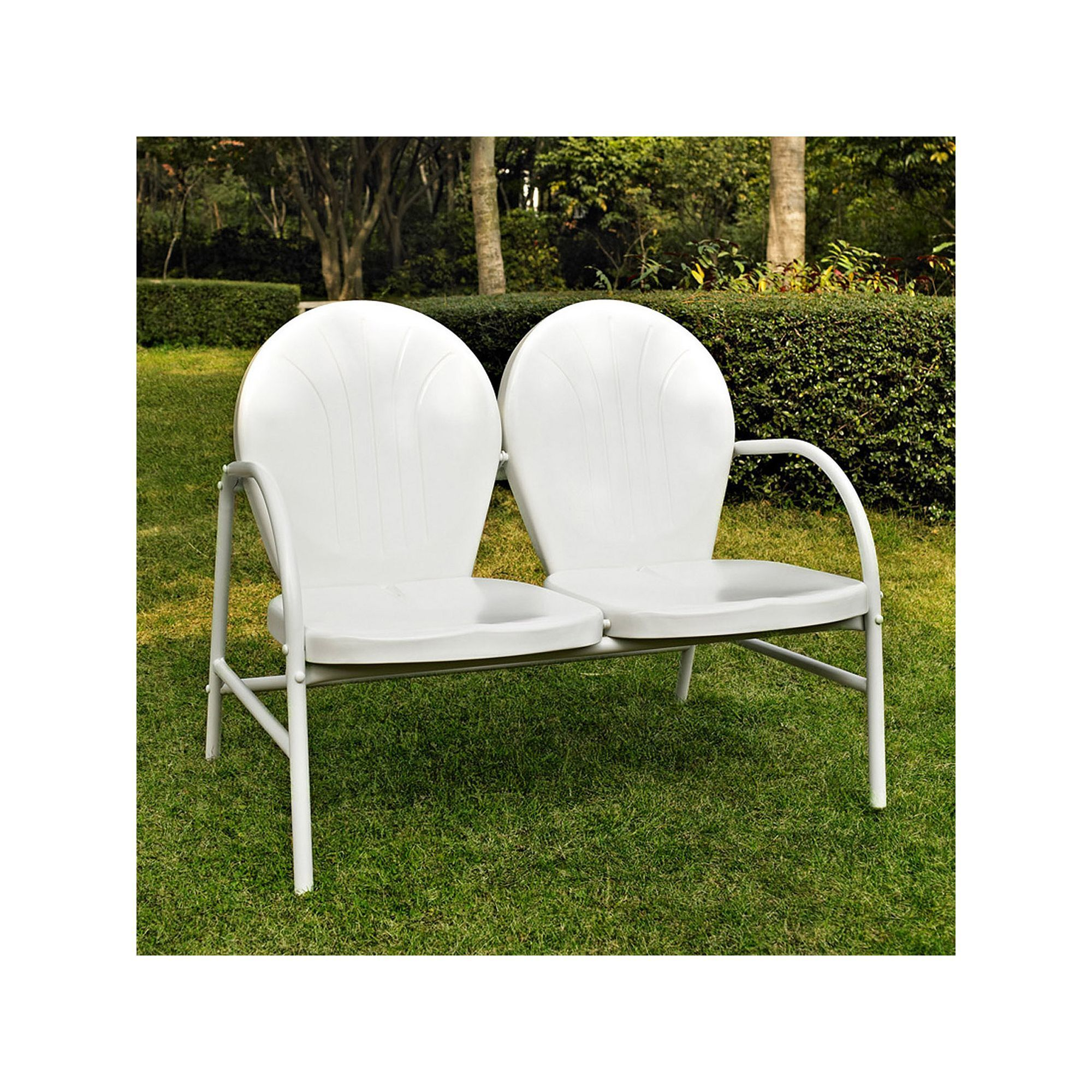 Outdoor Griffith Metal Loveseat White White Patio Furniture