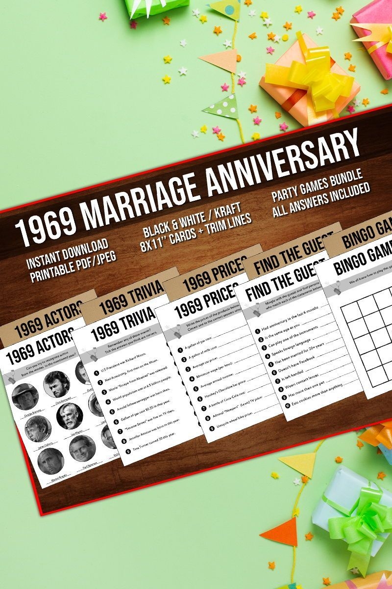 50th Anniversary Party Games Bundle Married in 1969 50th
