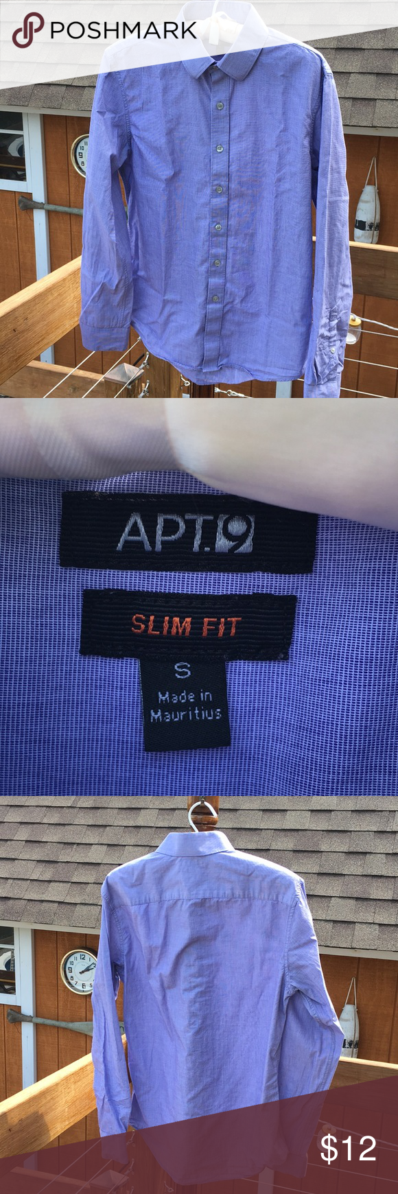 Men\'s blue button down dress shirt Apartment 9, small, like ...