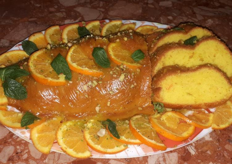 كيك برتقال مغطي بكريمة البرتقال بالصور من Isabel Maloum Recipe