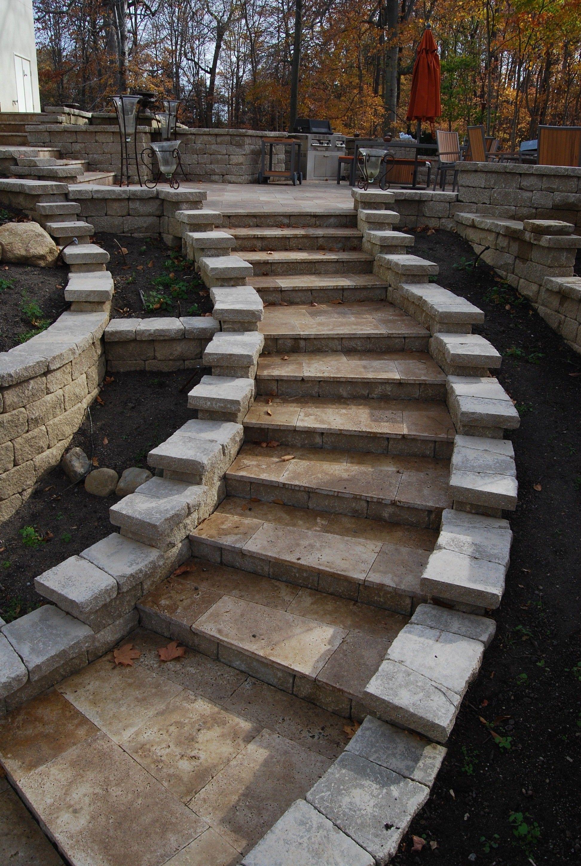 Best Travertine Steps Hardscape Pavers Design Fall Patios 400 x 300