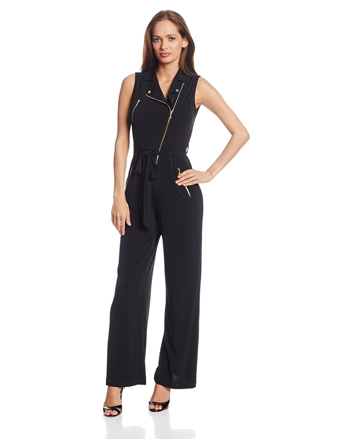 268d01db72bb Calvin Klein Women's Sleeveless Tie Waist Zipper Detail Jumpsuit * This is  an Amazon Affiliate link. See this great product.
