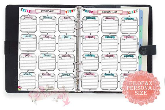Filofax personal size printable birthday appointment by Sorocashop - appointment planner