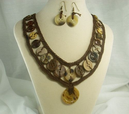 button jewelry Brown Crochet Vintage Button Jewelry Set Crafts