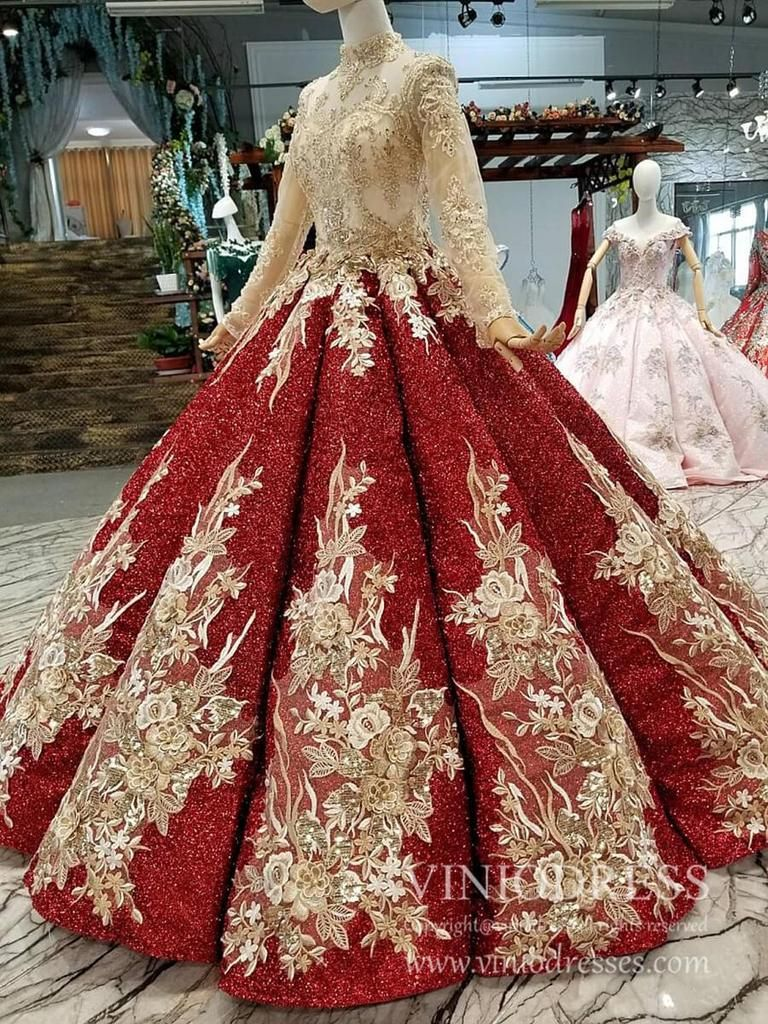 Vintage Gold Beaded Red Sequin Quinceanera Dresses With Sleeves Fd1121b Quinceanera Dresses Dresses Formal Dresses For Weddings [ 1024 x 768 Pixel ]