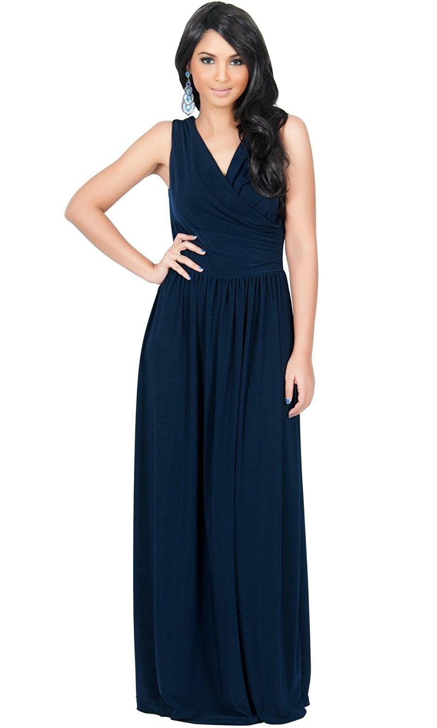 Womens Long Wrap Designer Sleeveless Evening Party Prom Gown Maxi Dress Navy Blue Cl11es9aadv Robe [ 1500 x 900 Pixel ]