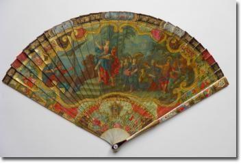 Lenlèvement dHélène, éventail vernis Martin vers 1720 - Catalogue Eventails XVIIIème - Fan déventails