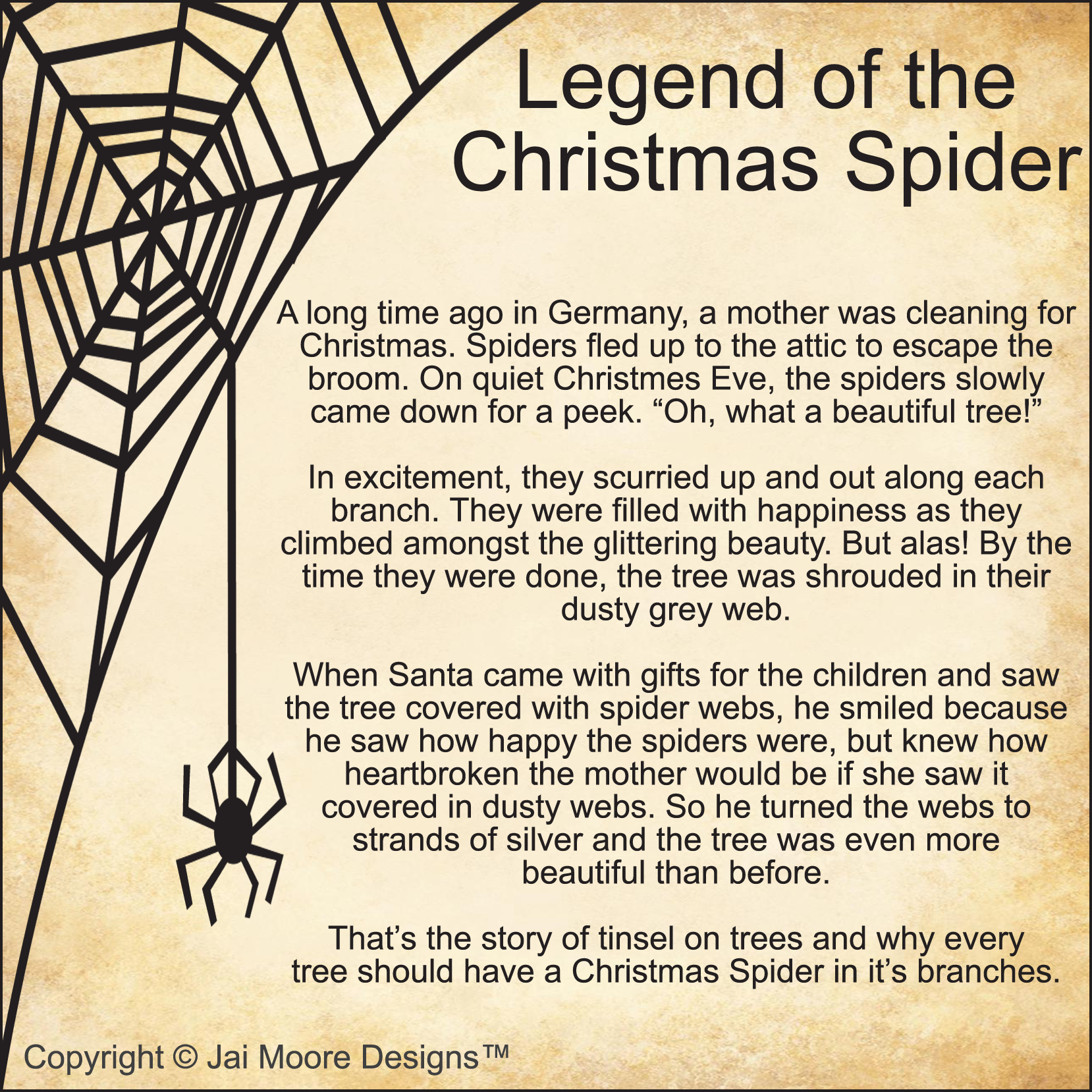 Adorable image throughout legend of the christmas spider printable