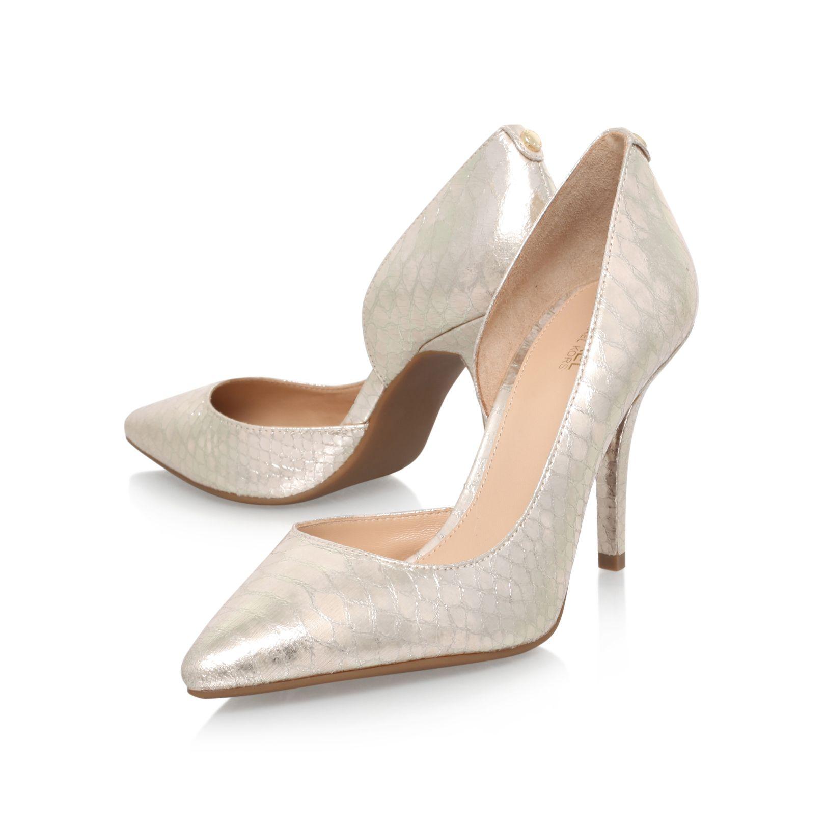 71917f77576f NATHALIE FLEX HIGH PUMP Michael Michael Kors Nathalie Flex High Pump Gold  Printed Leather High Heel Court Shoes by MICHAEL MICHAEL KORS