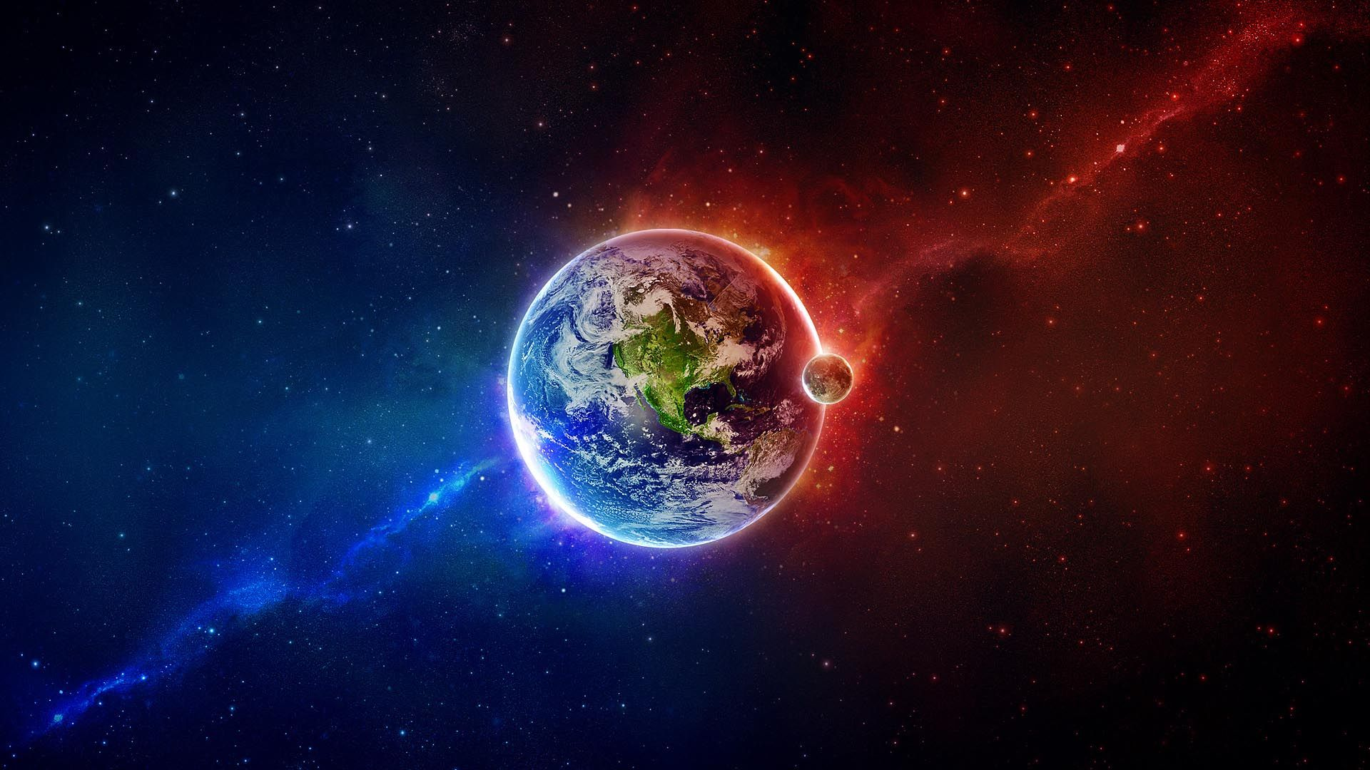 Outer Space Earth Moon Red Blue Hd Wallpaper With Images Earth