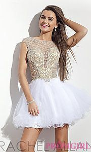 Buy Rachel Allan Homecoming Dress with Cap Sleeves at PromGirl